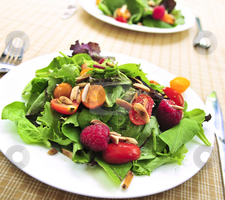 Green salad with berries and tomatoes stock photo, Healthy green salad with berries and cherry tomatoes by Elena Elisseeva