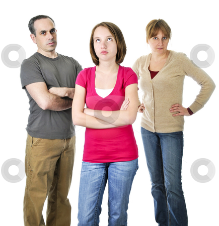 Teenage girl in trouble with parents stock photo, Teenage girl rolling her eyes in front of angry parents by Elena Elisseeva