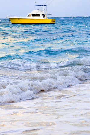 Waves breaking on tropical shore stock photo, Waves breaking on tropical beach with boat in the distance by Elena Elisseeva