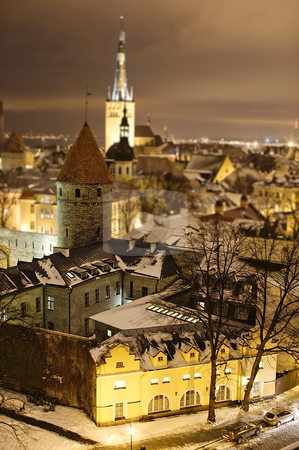 Night view of model-like Tallinn stock photo, Night view of Tallinn. Postprocessed to give model-like illusion by Andrea Bronzini