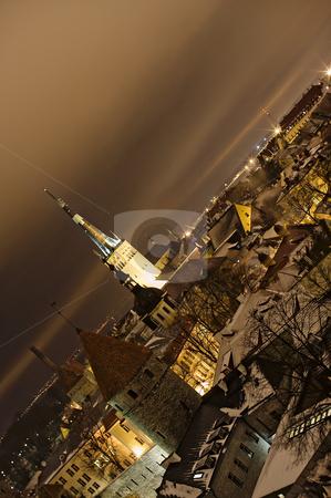 Night view of Tallinn stock photo, Night view of Tallinn. Diagonal horizon by Andrea Bronzini