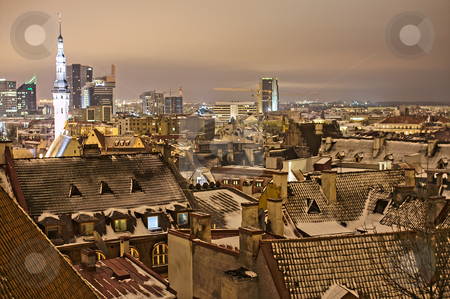 Night view of Tallinn stock photo, Night view of Tallinn. Rooftops by Andrea Bronzini