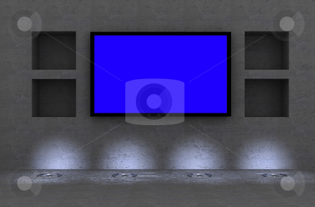 Lcd tv  stock photo, Lcd/plasma tv in modern interior room by Magnus Johansson