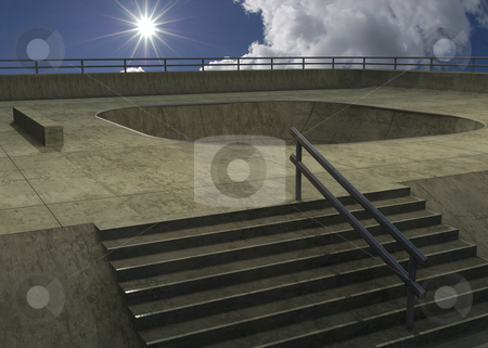 Skate park stock photo, 3d illustrated concrete skateboard park by Magnus Johansson