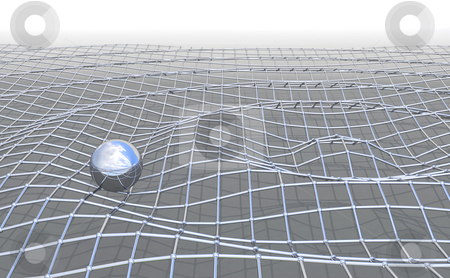 Mesh_ripple stock photo, Ironmesh ripple with shiny metal ball by Magnus Johansson
