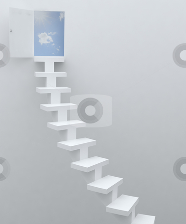 Stairway to heaven stock photo, Stairs to door in heaven by Magnus Johansson