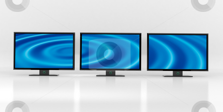 Lcd panorama stock photo, Three flat tv:s lined up against white background by Magnus Johansson
