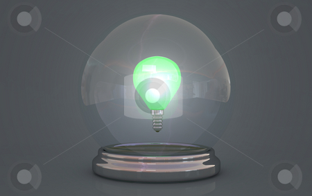 Crystal ball stock photo, Crystal ball showing lightbulb with green light by Magnus Johansson