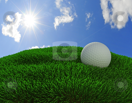 Golf ball stock photo, 3d rendered golfball and grass against blue sunny sky by Magnus Johansson