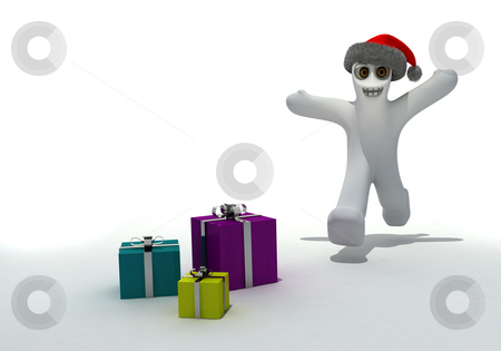 Happy time stock photo, Cartoon expressing positivity running towards present by Magnus Johansson