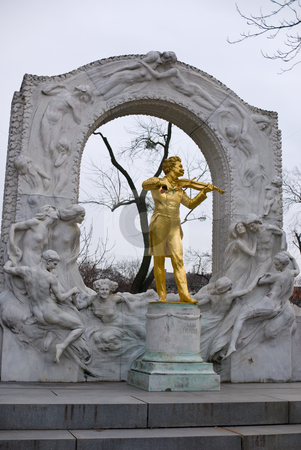 Memorial of the waltz-king stock photo, The famous golden memorial of johann strauss which is located in the vienna city park in the first district of vienna by Alexander L?
