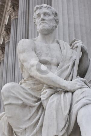 Austrian parliament stock photo, The famous sculptures around the austrian parliament dedicated to the greek goddess pallas athena by Alexander L?