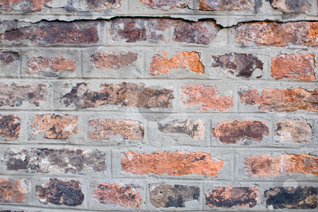 Dirty old wall stock photo, A old aged and dirty wall built with red bricks by Alexander L?