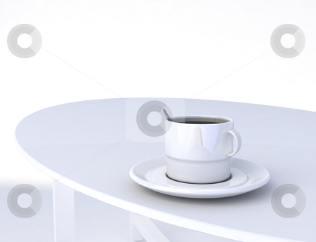 Plain coffee stock photo, A plain cup of coffee on a white table in a white room by Magnus Johansson