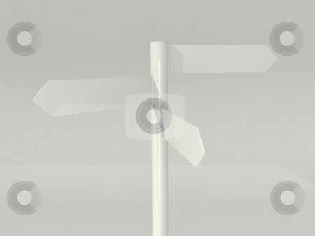 Tripple sign stock photo, White direction sign by Magnus Johansson