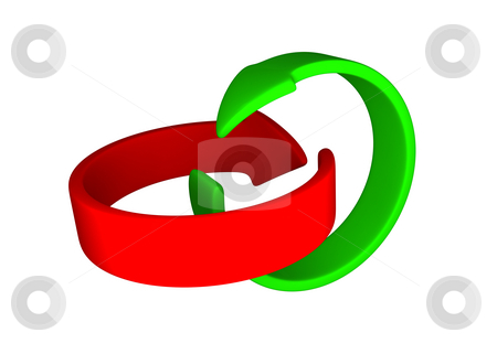 Red and green arrows stock photo, Red and green looping arrows by Magnus Johansson