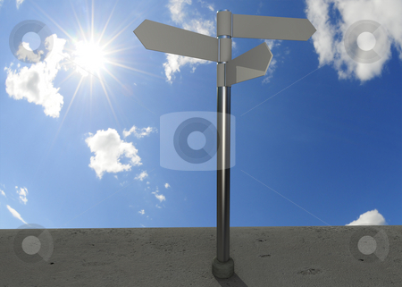 Directional sign stock photo, Direction sign with bright shining sun in the background by Magnus Johansson