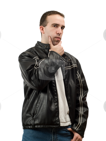 Thinking Man stock photo, A man thinking about something, isolated against a white background by Richard Nelson