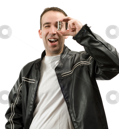 Small Savings stock photo, A young man is happy about his small savings he is holding up, isolated against a white background by Richard Nelson