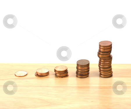 Interest stock photo, Concept image of growing interest rate with the use of pennies by Richard Nelson