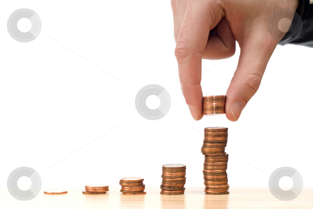 Increased Stock stock photo, Concept image of the stock market going up, isolated against a white background by Richard Nelson