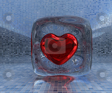 Frozen love stock photo, Heart frozen in icecube by Magnus Johansson