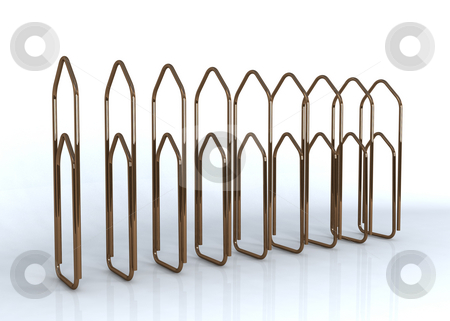Paper clips stock photo, Paper clips on a row by Magnus Johansson