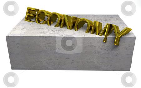 Economy crisis stock photo, Economy?s stuck in concrete by Magnus Johansson
