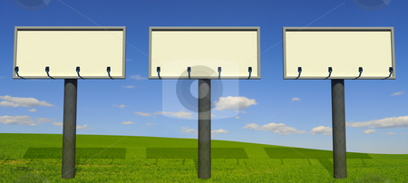 Three big billboards stock photo, Three big billboards with beautiful landscape background by Magnus Johansson