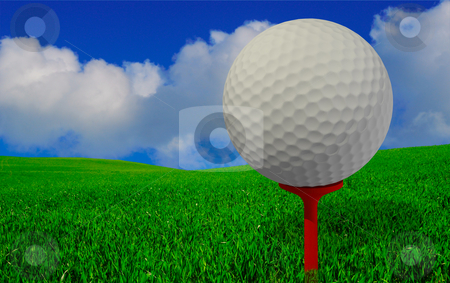 Golfers view stock photo, Beautiful golfers view vith golfball on peg and perfect green grass and blue sky by Magnus Johansson