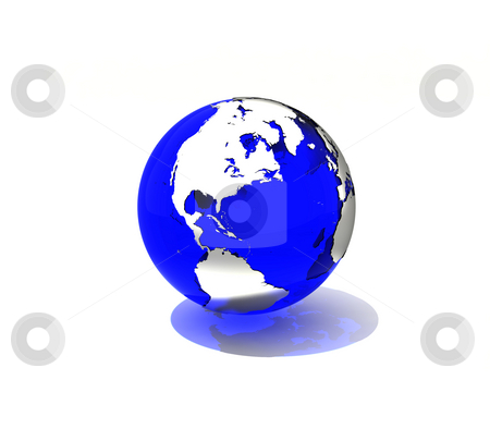 Blue planet stock photo, Transparent blue Earth with effectful lighting and shadows by Magnus Johansson