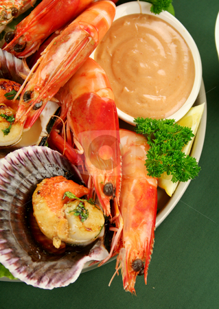 Seafood Platter stock photo, Fresh seafood platter of cooked shrimps, sand crab and pan fried scallops with coriander with Thousand Island Dressing. by Brett Mulcahy
