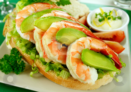 Shrimp And Avocado Sandwich stock photo, Delightful fresh shrimp and avocado open sandwich with lemon mayonnaise. by Brett Mulcahy
