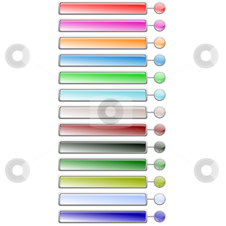 Barbutton stock vector clipart, Set of glossy bars with buttons in 13 colors by Ira J Lyles Jr