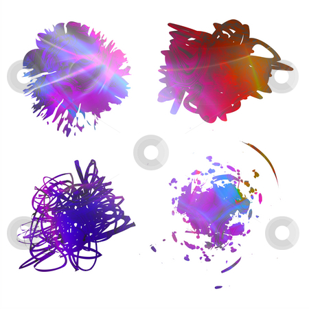 Rainbow Scribbles stock photo, Rainbow colored abstract scribbles isolated over white. by Todd Arena