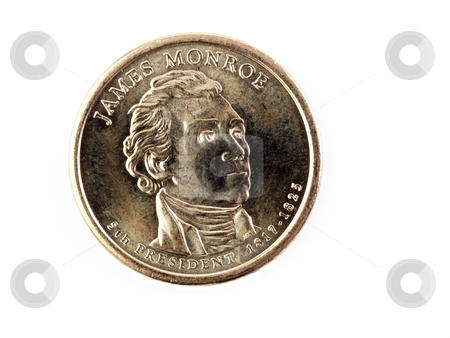 US Gold Coin James Monroe Heads Money stock photo, US Money Gold coin James Monroe dollar by Jeff Cleveland