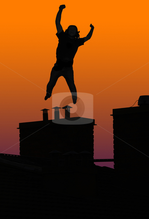 Totally something stock photo, Happy or crazy man jumping on chimney by Magnus Johansson