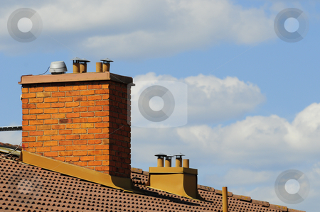 Shimneys stock photo, Shimneys on roof by Magnus Johansson
