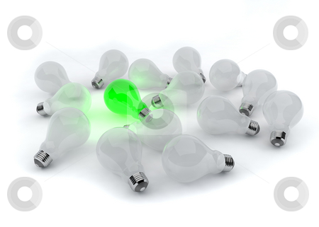 One green light bulb  stock photo, Green environment concept with lightbulbs by Magnus Johansson