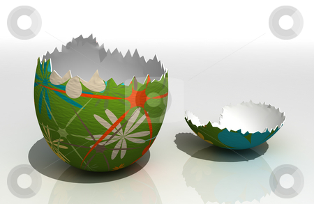 Easter egg stock photo, Painted easter egg on reflecting surface by Magnus Johansson