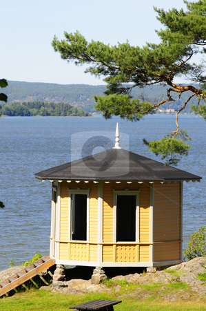 Swedish pavilion stock photo, Pavilion in Swedish archipelago by Magnus Johansson