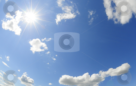 Sunny sky stock photo, Blue sky and bright shining sun by Magnus Johansson