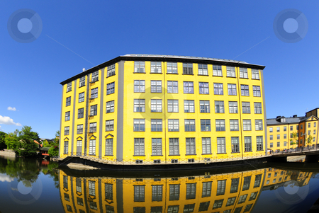Yellow house_water stock photo, Old Industry building in Norroping Sweden by Magnus Johansson