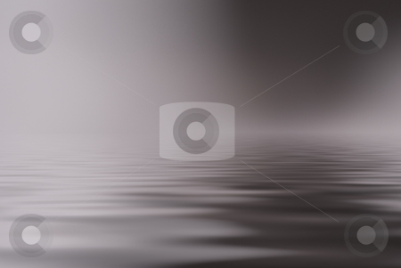 Surface stock photo, Mysterious fog and ligh over dark water by Magnus Johansson