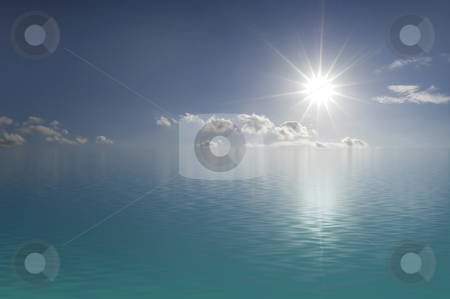 Flooded sky stock photo, Calm ocean and blues sky with sun and white clouds by Magnus Johansson