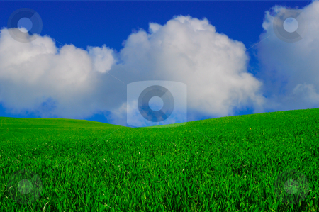 Paradise stock photo, Paradise landscape with clear blue sky and white clouds by Magnus Johansson