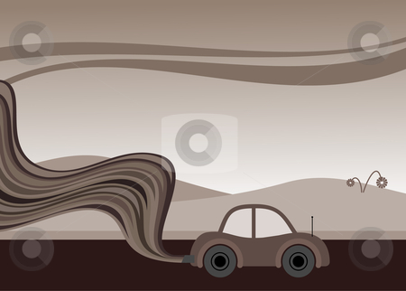 Bad environmental car stock vector clipart, Vector illustration of a car belching out pollution by Paul Turner