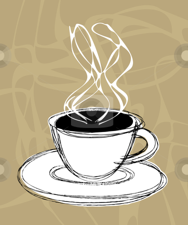 Coffee and steam stock vector clipart, Vector illustration sketch of a cup of hot coffee and steam by Paul Turner