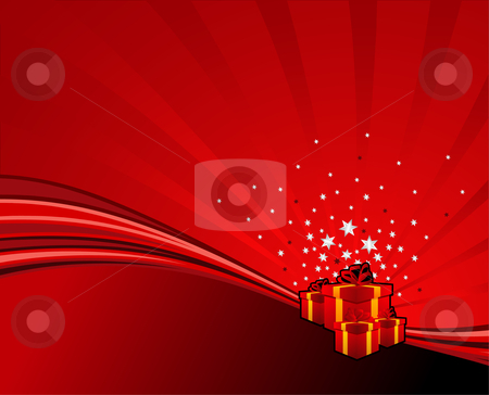 Festive swoosh stock vector clipart, Festive gifts on red abstract swoosh background. Vector illustration. by Paul Turner