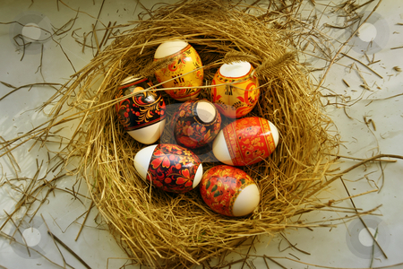 Peaster egg stock photo, Many Easter eggs lie in a nest by Aleksandr GAvrilov